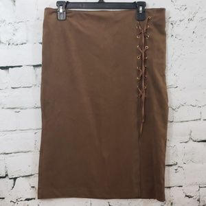 New York & Company faux suede stretch pencil skirt